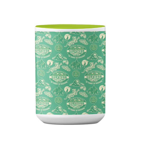 Survivor 20 Years 40 Seasons All Over Green Tribal Pattern Two-Tone Mug | Official CBS Entertainment Store
