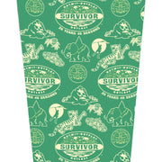 Survivor 20 Years 40 Seasons All Over Green Tribal Pattern 17 oz Pint Glass | Official CBS Entertainment Store