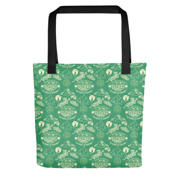 Survivor 20 Years 40 Seasons All Over Green Tribal Pattern Premium Tote Bag | Official CBS Entertainment Store