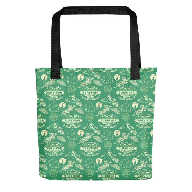Survivor 20 Years 40 Seasons All Over Green Tribal Pattern Premium Tote Bag