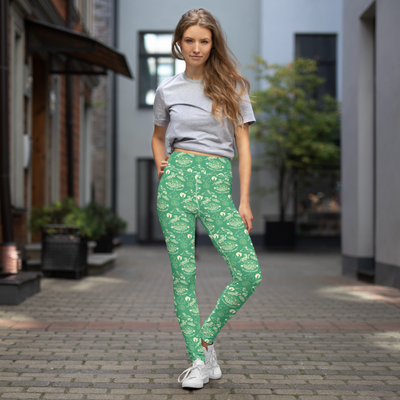 Survivor 20 Years 40 Seasons All Over Green Tribal Pattern Women's All-Over Print Yoga Leggings