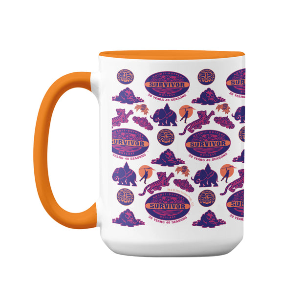 Survivor 20 Years 40 Seasons All Over Purple Logo Pattern Two-Tone Mug | Official CBS Entertainment Store