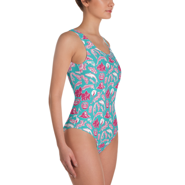Survivor 20 Years 40 Seasons All Over Tribal Pattern Women's All-Over Print One-Piece Swimsuit | Official CBS Entertainment Store
