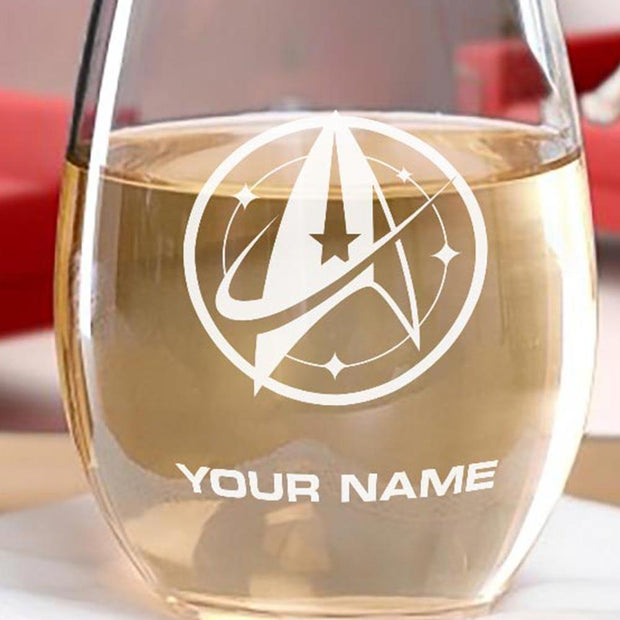 Star Trek: Discovery Starfleet Command Personalized Stemless Wine Glass | Official CBS Entertainment Store