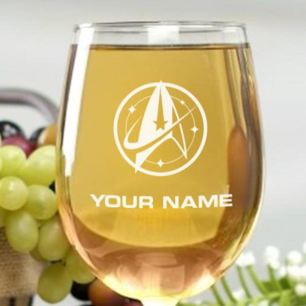 Star Trek: Discovery Starfleet Command Personalized Wine Glass | Official CBS Entertainment Store