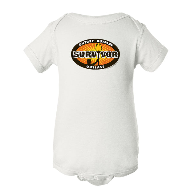 Survivor Outwit, Outplay, Outlast Logo Baby Bodysuit