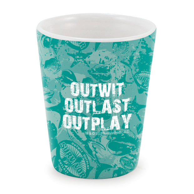 Survivor Outwit, Outplay, Outlast Ceramic Shot Glass