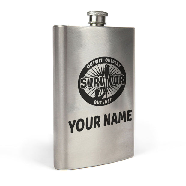 Survivor Outwit, Outplay, Outlast Personalized Flask | Official CBS Entertainment Store