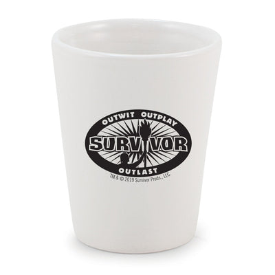 Survivor Outwit, Outplay, Outlast Logo Ceramic Shot Glass