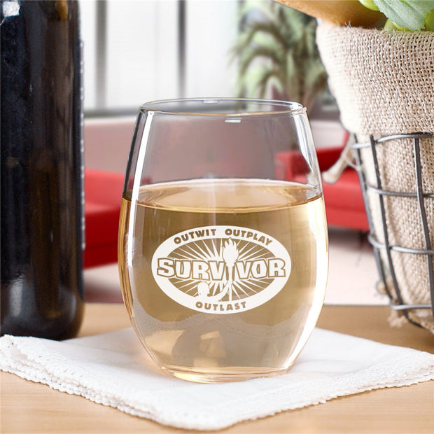 Survivor Outwit, Outplay, Outlast Stemless Wine Glass