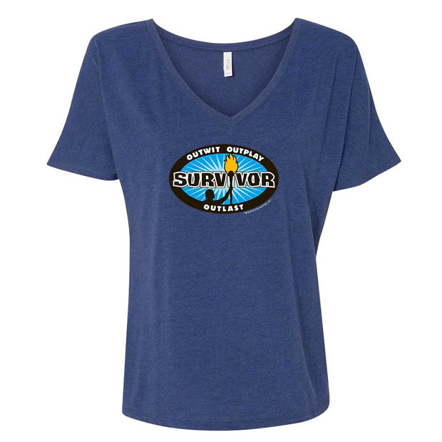 Survivor Outwit, Outplay, Outlast Logo Women's Relaxed V-Neck T-Shirt