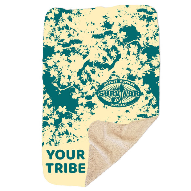 "Survivor Outwit, Outplay, Outlast Personalized Sherpa Blanket - 37"" x 57"" 