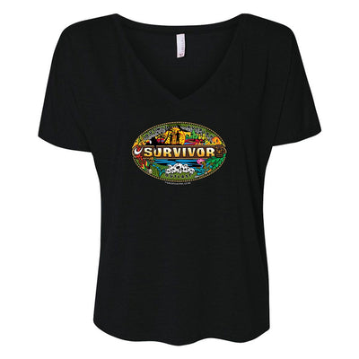 Survivor Mashup Logo Women's Relaxed V-Neck T-Shirt | Official CBS Entertainment Store