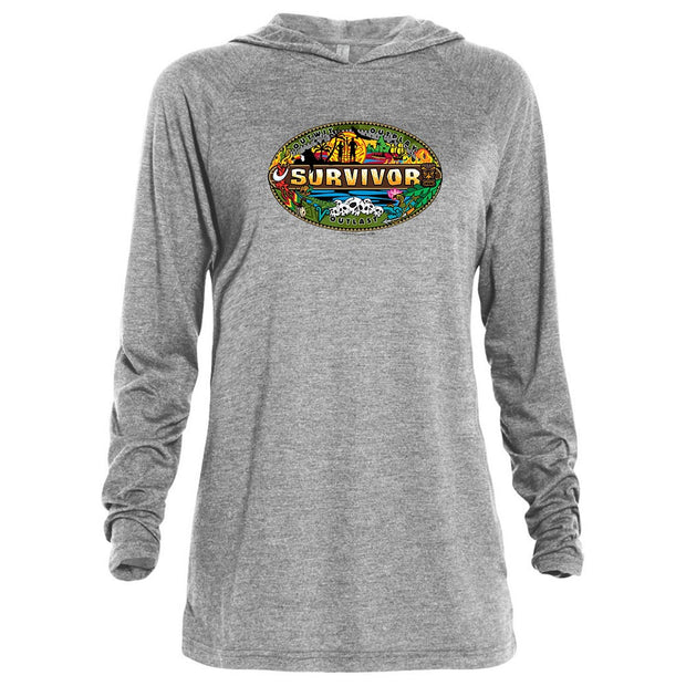 Survivor Mashup Logo Tri-Blend Raglan Hoodie | Official CBS Entertainment Store