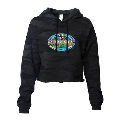 Survivor Season 39 Island of the Idols Logo Women's Cropped Camo Hoodie | Official CBS Entertainment Store