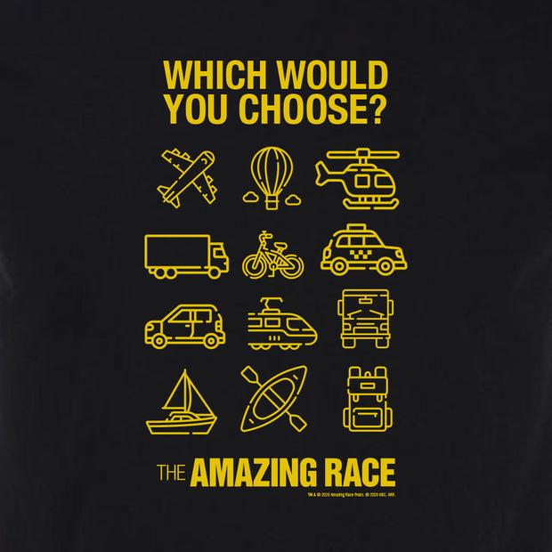 The Amazing Race Yellow Choose Your Adventure Adult Short Sleeve T-Shirt | Official CBS Entertainment Store