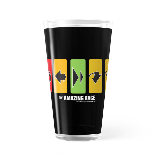 The Amazing Race Race Clues 17 oz Pint Glass | Official CBS Entertainment Store
