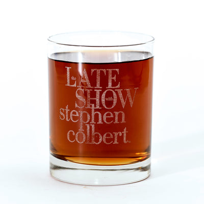 The Late Show with Stephen Colbert Logo Laser Engraved Rocks Glass | Official CBS Entertainment Store