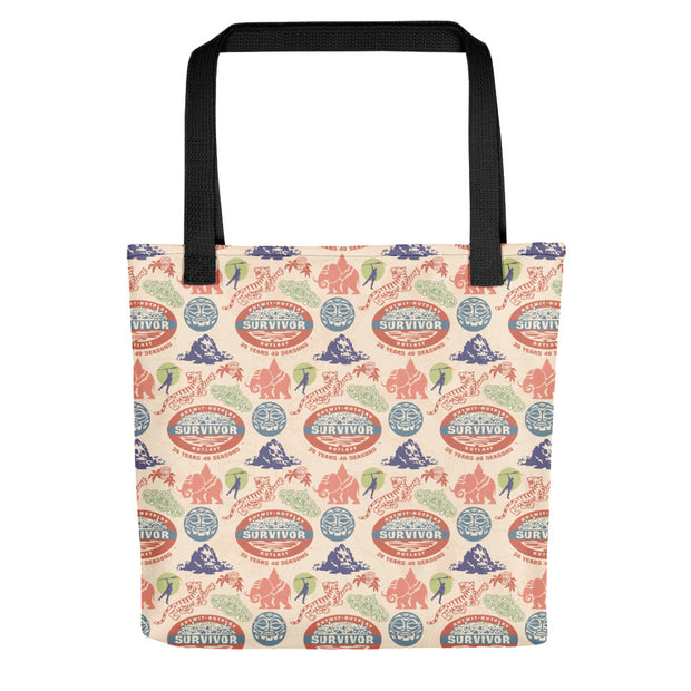 Survivor 20 Years 40 Seasons All Over Color Logo Pattern Premium Tote Bag