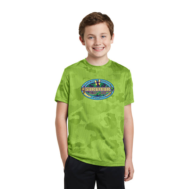 Survivor Season 39 Island of the Idols Logo Youth Performance Camo T-Shirt | Official CBS Entertainment Store