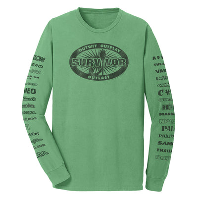 Survivor Outwit, Outplay, Outlast Locations Adult Long Sleeve T-Shirt | Official CBS Entertainment Store