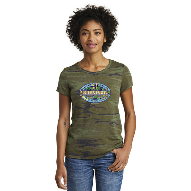 Survivor Season 39 Island of the Idols Logo Women's Camo T-Shirt | Official CBS Entertainment Store