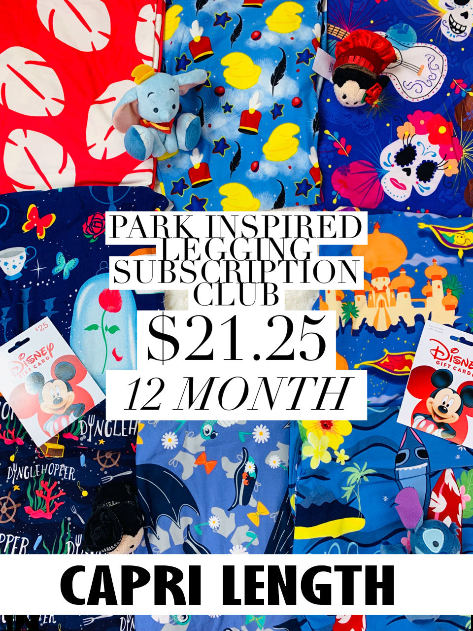 Park Inspired Capri Leggings Subscription Club - 12 Month Subscription