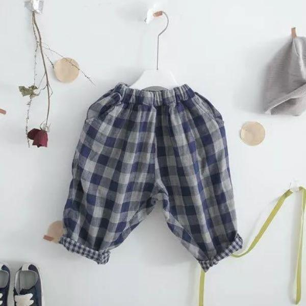 Easy Wear Check Trouser Pants - Linen/Cotton Blend