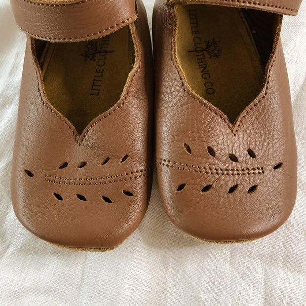 Handmade Mary Jane Soft Sole Shoes with Leaf Detailing. 100% Leather