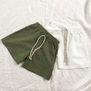Textured Slub Cotton Shorts