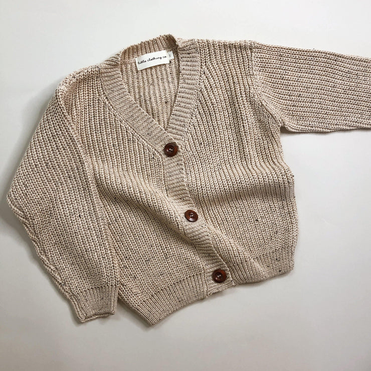 Chunky Rib Speckle Knit Cardigan in Oatmeal