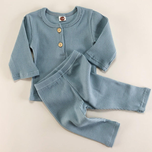 Simplicity Range - My Little Cotton Rib Button Lounge Set