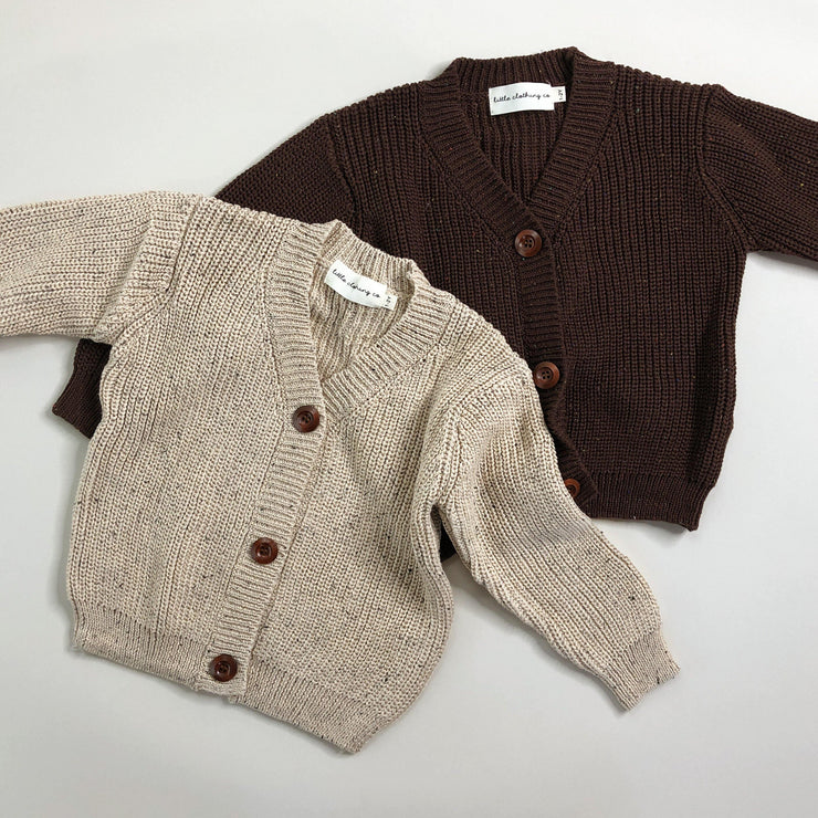 Chunky Rib Speckle Knit Cardigan in Dark Brown
