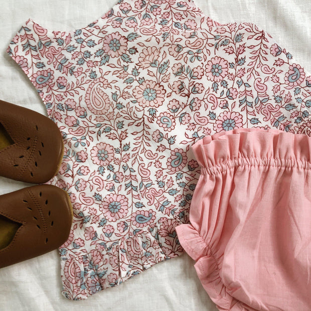 Button Up Blouse and Bloomer Set - Organic Block Print