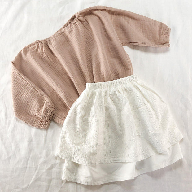 Crepe Cotton Long Sleeve Bubble Top