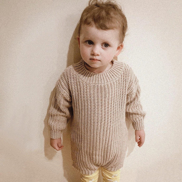 Cosy Chunky Speckle Cotton Knit Romper