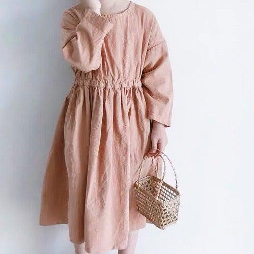 Nora 3/4 Length Long Sleeve Dress - Linen/Cotton