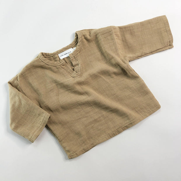 Little Explorer V Neck Shirt - Crinkle Linen/Cotton