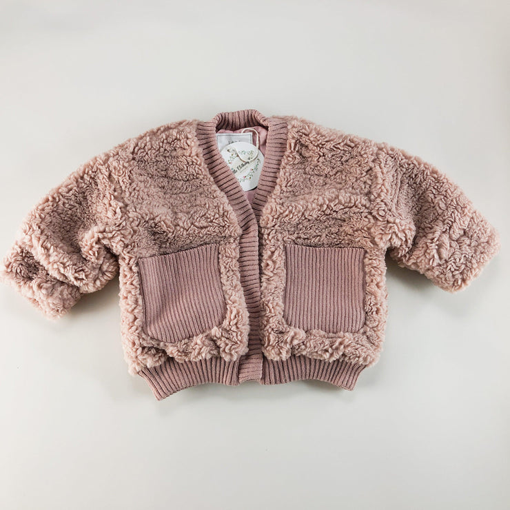 Rory Teddy Bear Jacket in Pink & Oatmeal