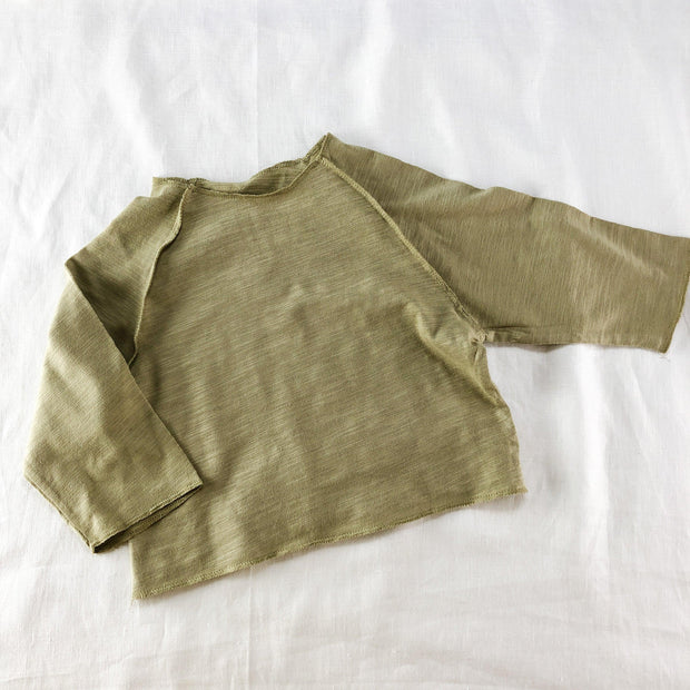 Slub Cotton Long Sleeve T-Shirt with Raw Edging