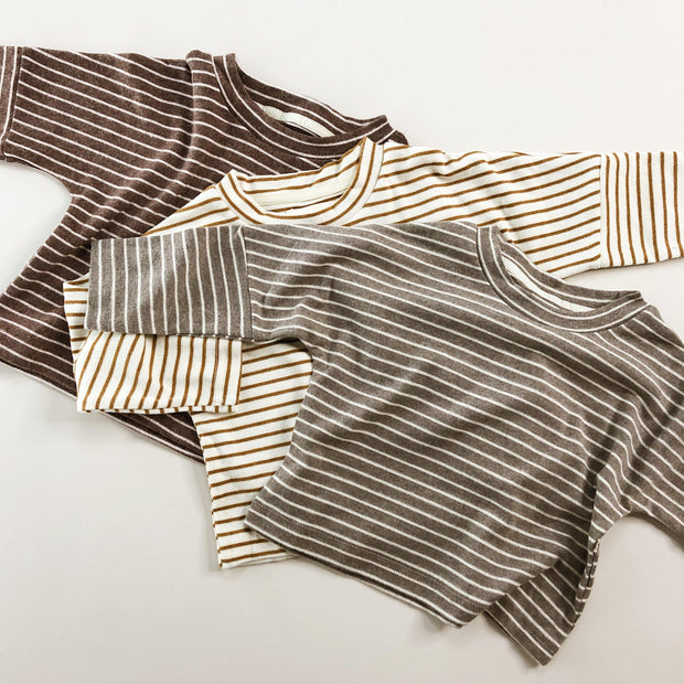 Brushed Cotton Stripe Long Sleeve Top