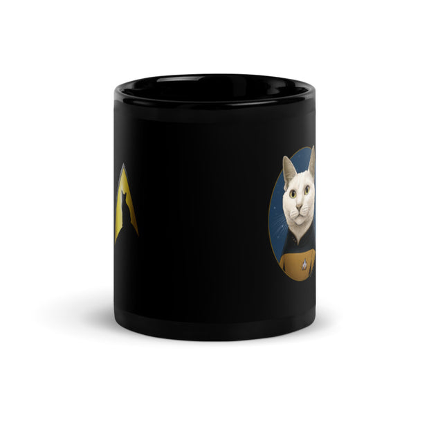 Star Trek: The Next Generation Data Cat Portrait Black Mug
