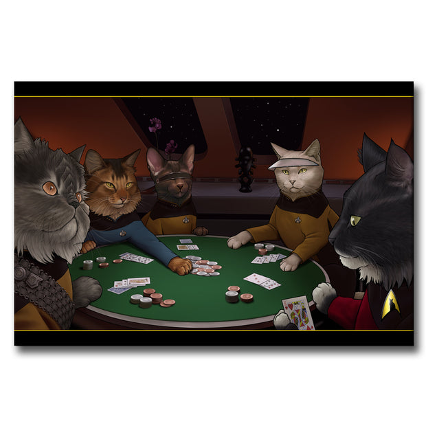 Star Trek: The Next Generation Poker Cats Gallery Wrapped Canvas