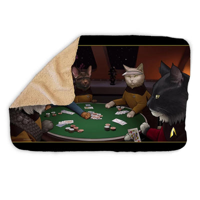 Star Trek: The Next Generation Poker Cats Sherpa Blanket