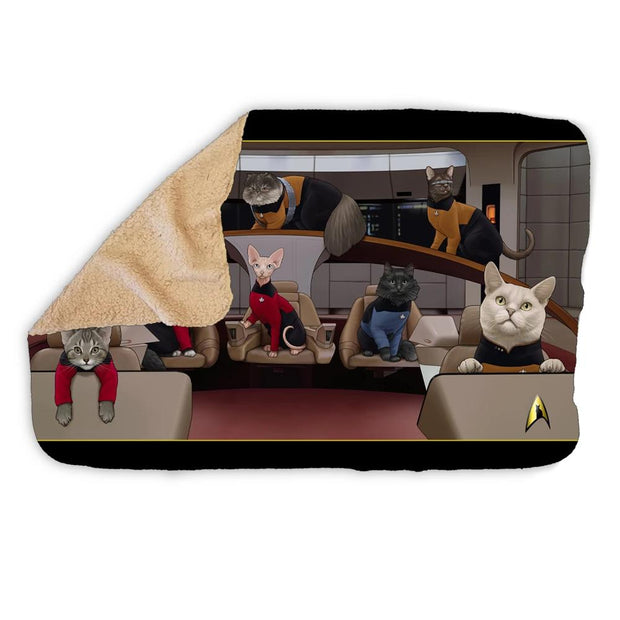 Star Trek: The Next Generation Crew Cats Sherpa Blanket