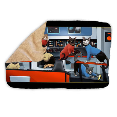 Star Trek: The Original Series Crew Cats Sherpa Blanket