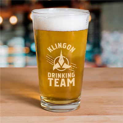 Star Trek Klingon Drinking Team Laser Engraved Pilsner Glass