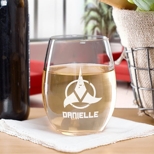 Star Trek Klingon Logo Personalized Laser Engraved Stemless Wine Glass