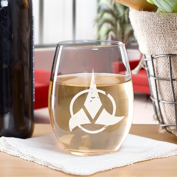 Star Trek Klingon Red Logo Laser Engraved Stemless Wine Glass