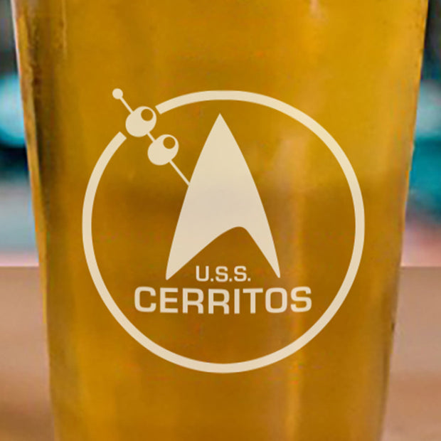 Star Trek: Lower Decks Cerritos Bar Logo Laser Engraved Pint Glass
